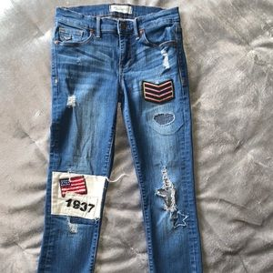 Nwot Madewell distressed patch skinny jeans